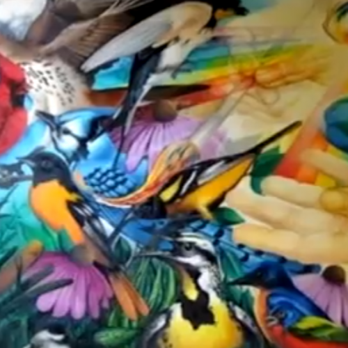 World with Birds Painting